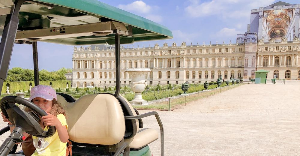 Exploring the Gardens of Versailles in an electric vehicle
