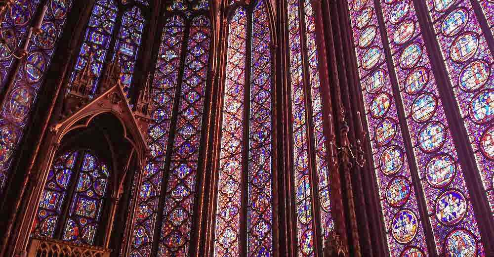 The stained glass windows of Sainte-Chapelle in Paris, one of the highlights of any Paris itinerary
