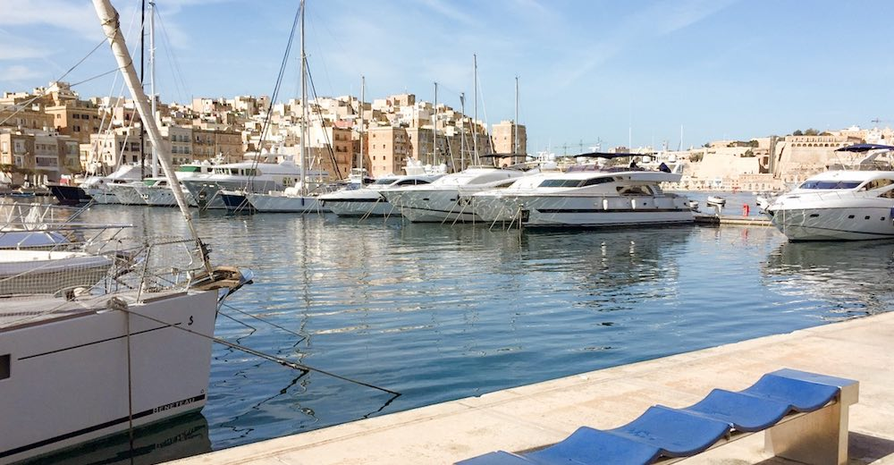 Luxury yachts anchored in the marina of Birgu - Vittoriosa, one of the most stunning places to visit Malta