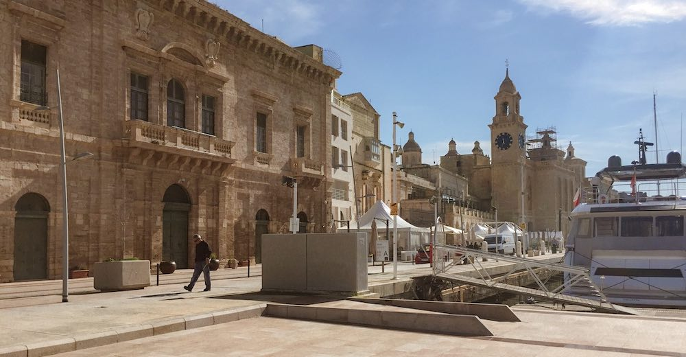 Birgu marina in Three Cities with the St Lawrence Church