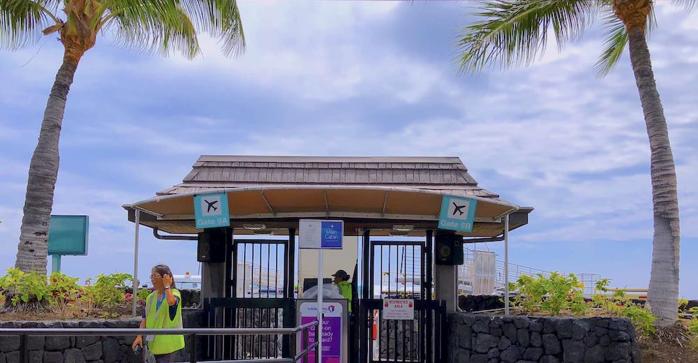 Gate at the open-air Kona airport, one of two international Big Island airports
