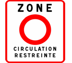 Verkeersbord om een ZCR-zone binnen te rijden met een milieuvignet voor Frankrijk