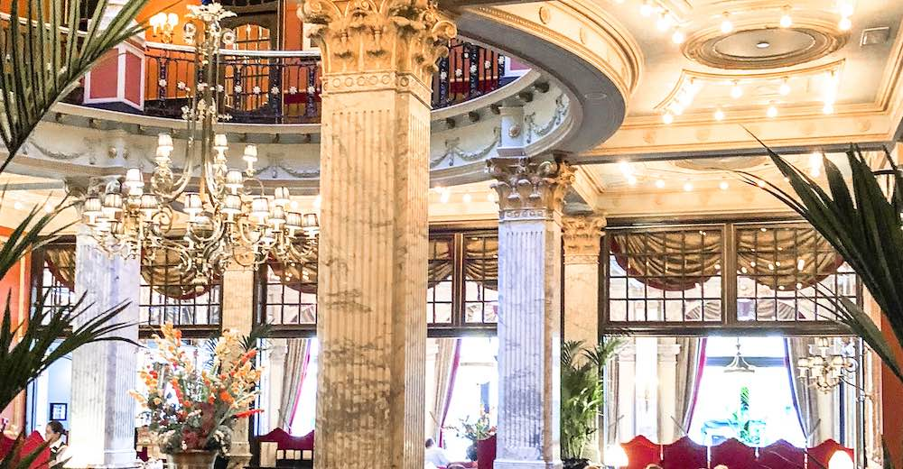 The interior of the bar area at the iconic Hotel des Indes in The Hague
