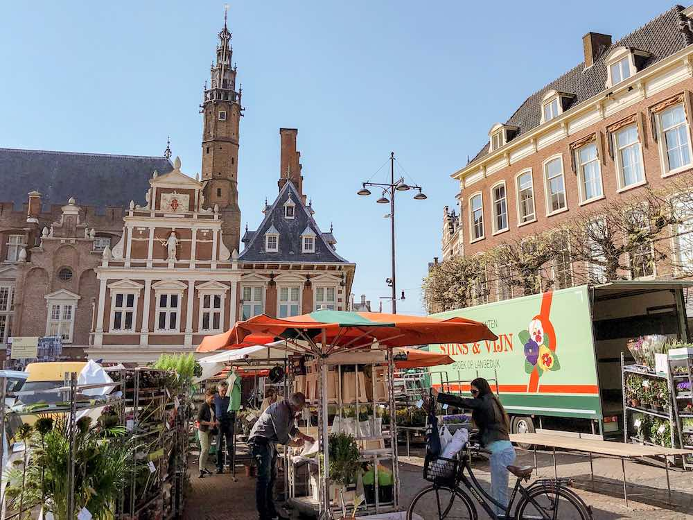 The Grote Markt in Haarlem, where a flower market is being installed, and the city's Town Hall in the backdrop