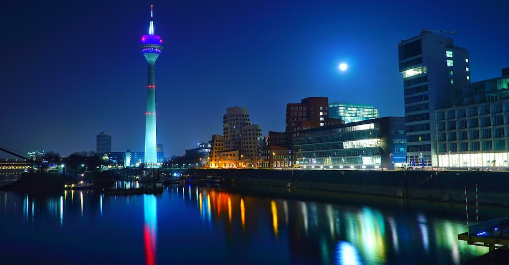 Night view of Düsseldorf, well reachable by train from Brussels