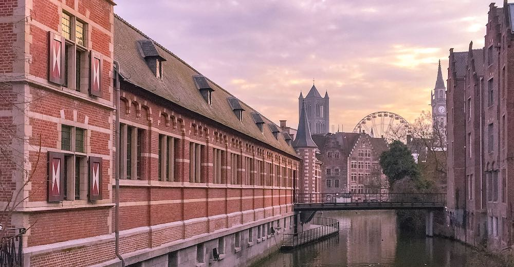 Cityscape of Ghent, Belgium, at sunset