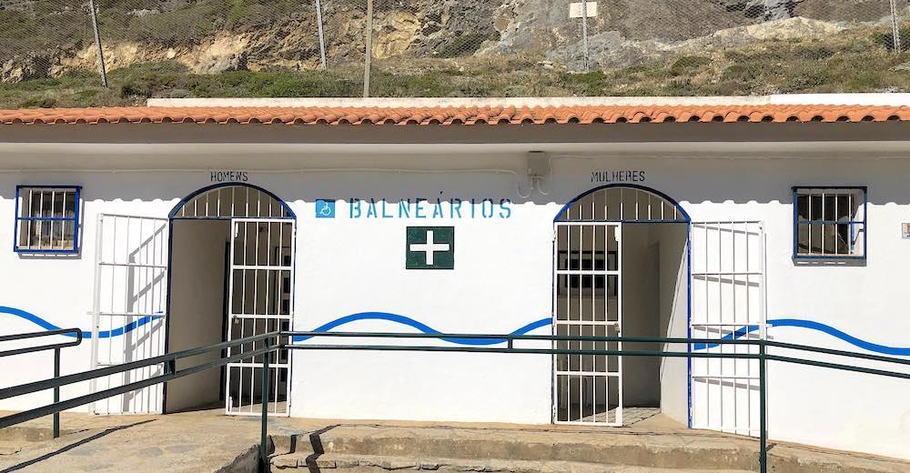 The classic changing facilities at Praia da Adraga beach in Portugal