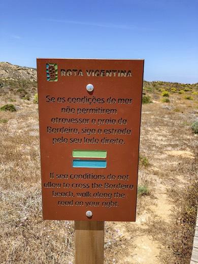 Rota Vicentina hiking network runs along the Portuguese beach Praia da Bordeira