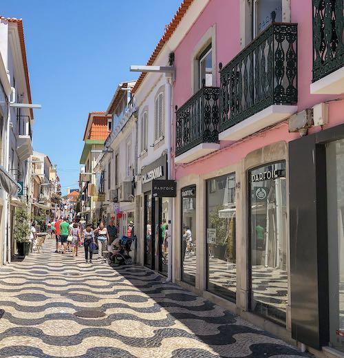 Souvenir shopping street in Cascais Portugal