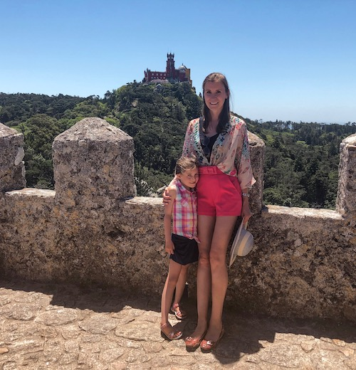 Mother and daughter at the top of the Moorish Palace in Sintra, one of the highest Portugal places