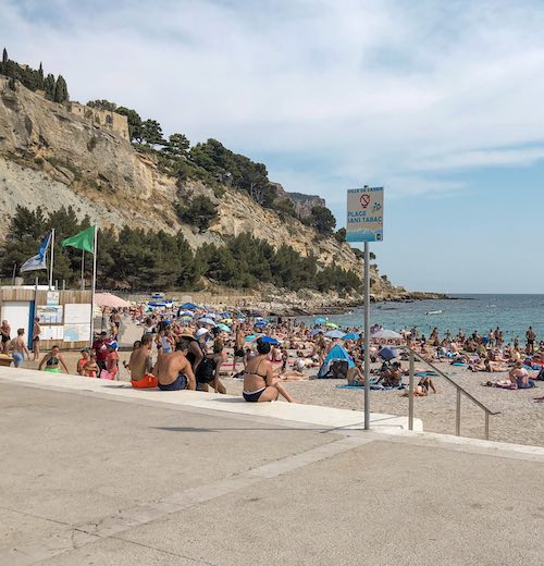 Cassis France beach Plage la Grande Mer adjacent to the port