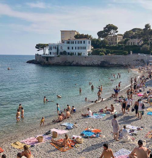 Plage de Bastouan Cassis beach France during the summer months