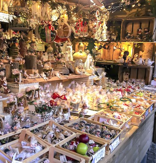 Collection of Christmas decoration at one of the many stalls during the Bruges Christmas market
