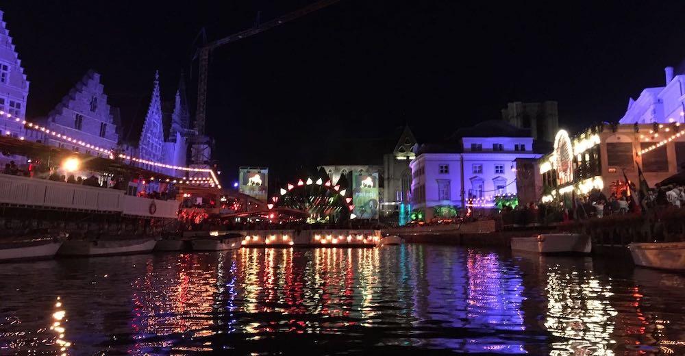 Festival in the Belgian city of Ghent, as viewed from the water in between Graslei and Korenlei