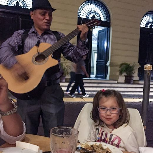 Serenade for a little girl at a restaurant in Panama-capital