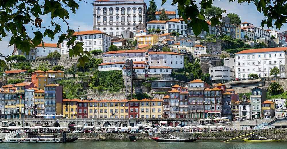 Colorful houses along the river in the Ribeira district in Porto, one of the most visited cities in Portugal