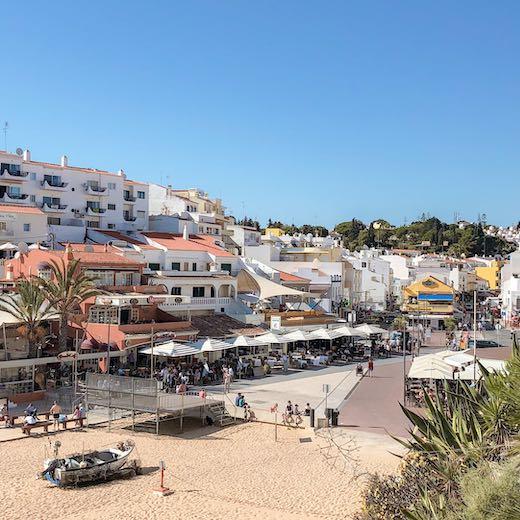 Central square of Carvoeiro Algarve Portugal
