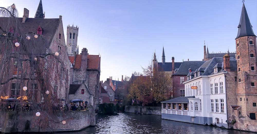 Rozenhoedkaai in Bruges at Christmas