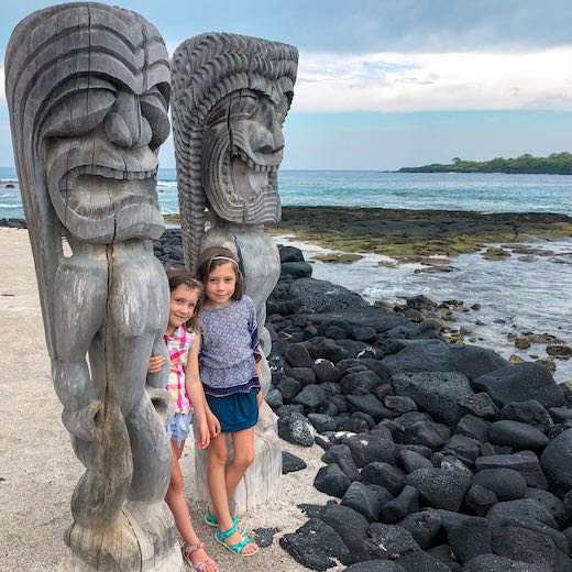 Best Hawaii island for kids that are keen to explore Hawaiian culture like these girls at the Place of Refuge