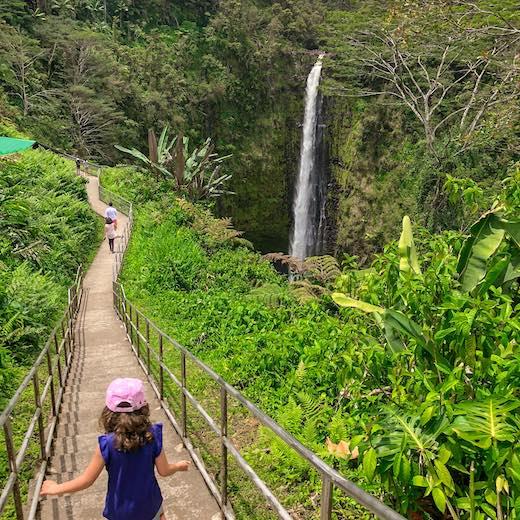 Big Island best Hawaiian island for little explorers like this girl at Akaka Falls