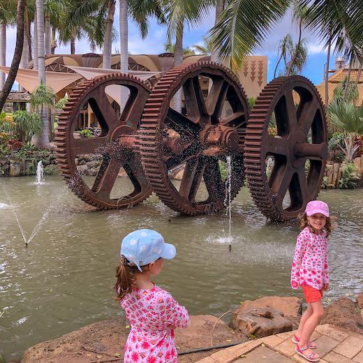 Two girls exploring the Maui Tropical Plantation