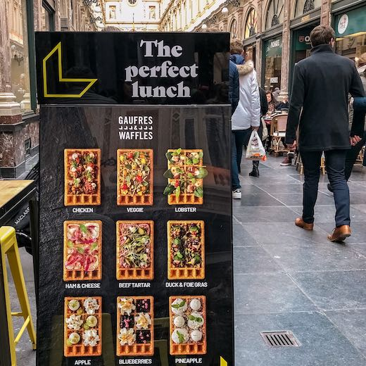 Famous Belgian waffles in the Royal Galleries in Brussels