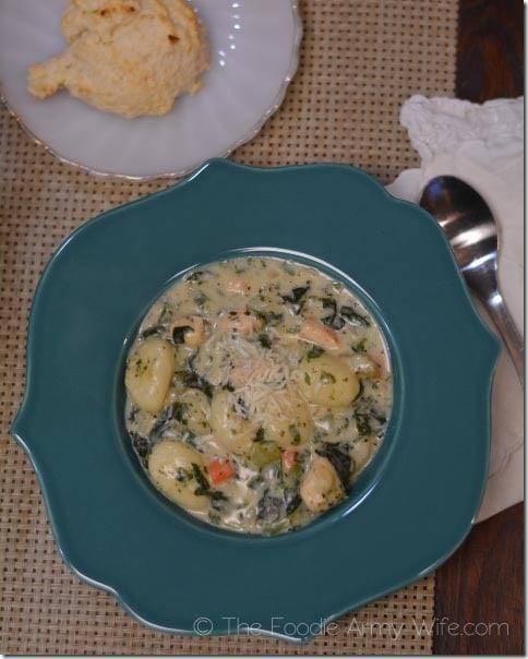 Chicken Gnocchi Soup with Garlic Drop Biscuits3