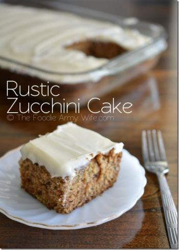 Rustic Zucchini Cake with Cream Cheese Frosting from The Foodie Army Wife