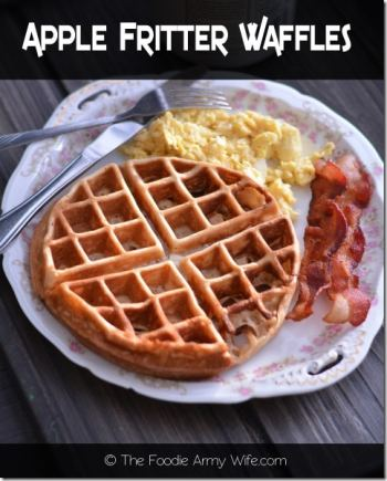 Apple Fritter Waffles from The Foodie Army Wife