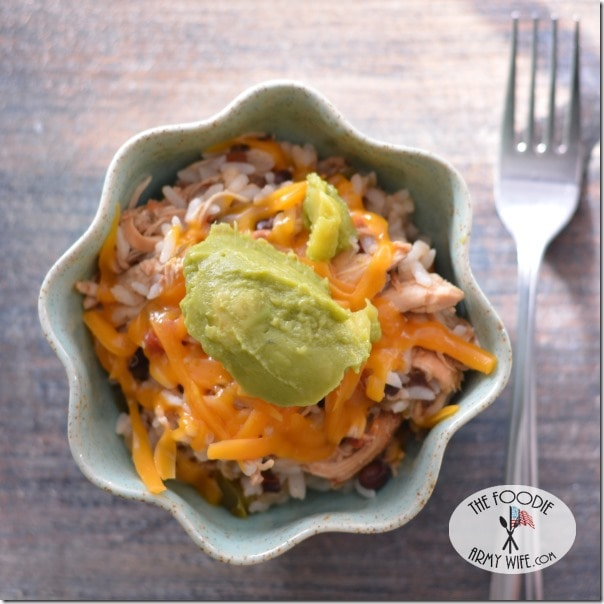 Crockpot Spicy Chicken & Rice from The Foodie Army Wife
