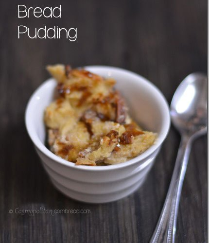 Rich and decadent Butterscotch Bread Pudding from Cosmopolitan Cornbread