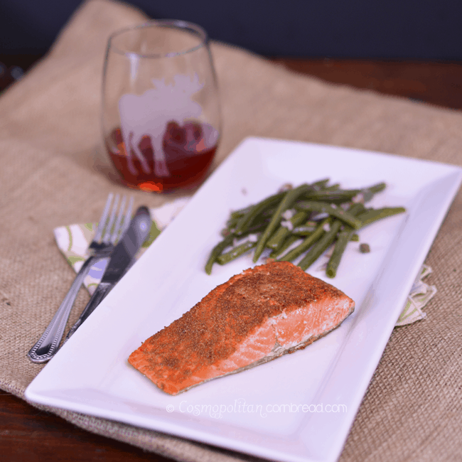 Coriander Salmon with Capered Green Beans from Cosmopolitan Cornbread