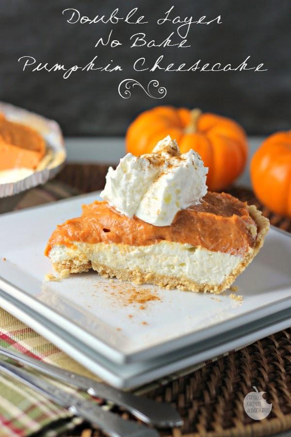 double layer no bake pumpkin cheesecake hero text
