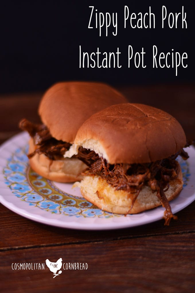 Zippy Peach Pork in your Instant Pot - Get the recipe from Cosmopolitan Cornbread