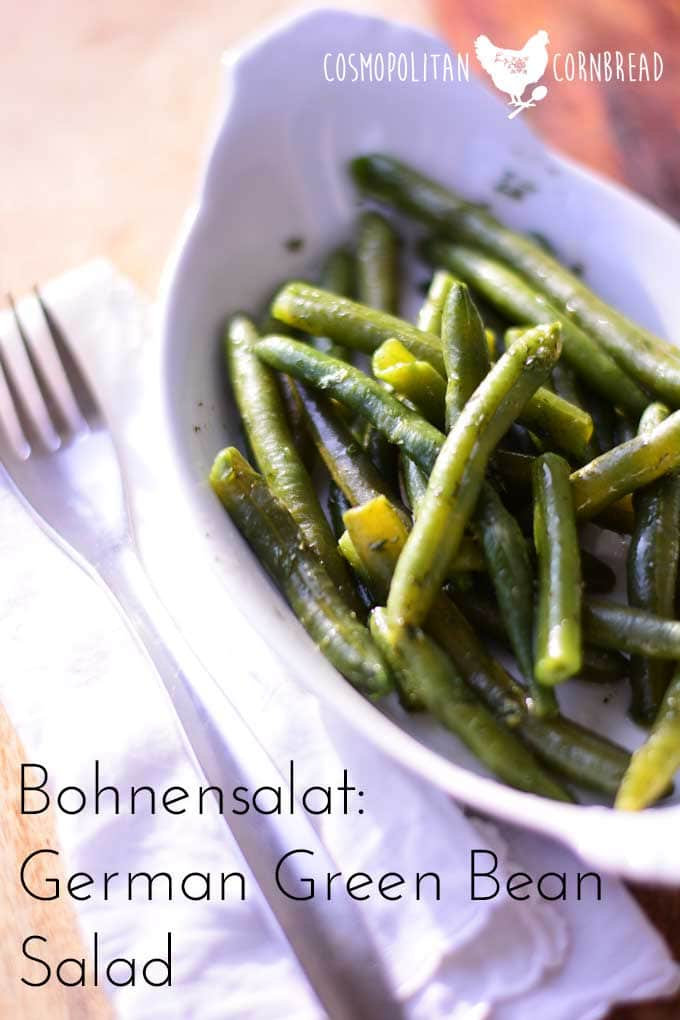 35 Thanksgiving Side Dish Recipes | Bohnensalat - German Green Bean Salad is a delicious traditional side dish. Get the recipe from Cosmopolitan Cornbread
