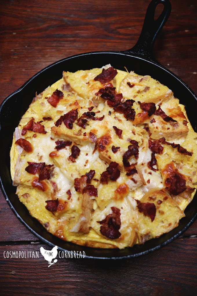 This delicious Bacon & Egg Strata is the comfort food of breakfast. Enjoy this dish with your family today. Get the recipe from Cosmopolitan Cornbread.