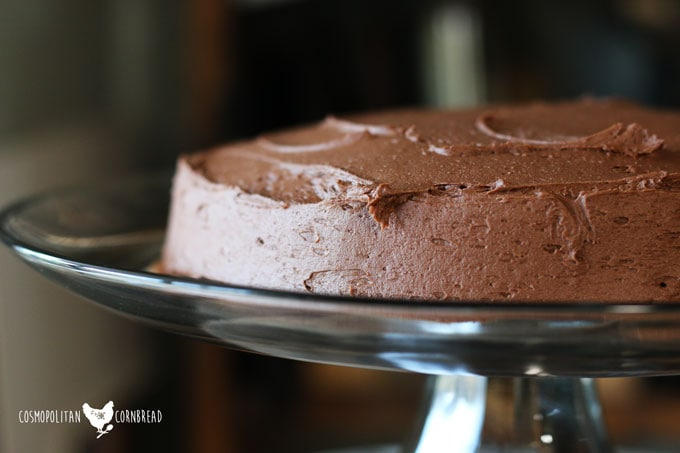 The Best Little Chocolate Cake - rich, chocolatey and just the right size. Get the recipe from Cosmopolitan Cornbread.