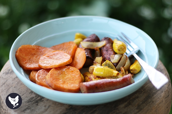 Roasted Sweet Potatoes with Baby Squash and Smoked Sausages   Farmer's Market Supper