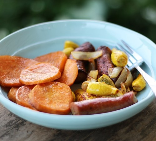 Farmer's Market Supper - smoked sausage and roasted veggies make for a wonderfully adventurous meal.