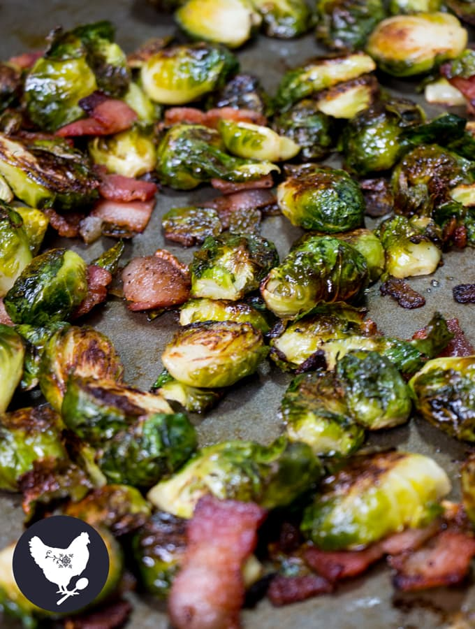 Roasted Brussels Sprouts with Bacon | I'll be honest, I never used to like Brussels sprouts. But after learning of a few new ways to make them, I don't like them - I love them! You'll love this version of them as well, I am certain. Get the recipe from Cosmopolitan Cornbread