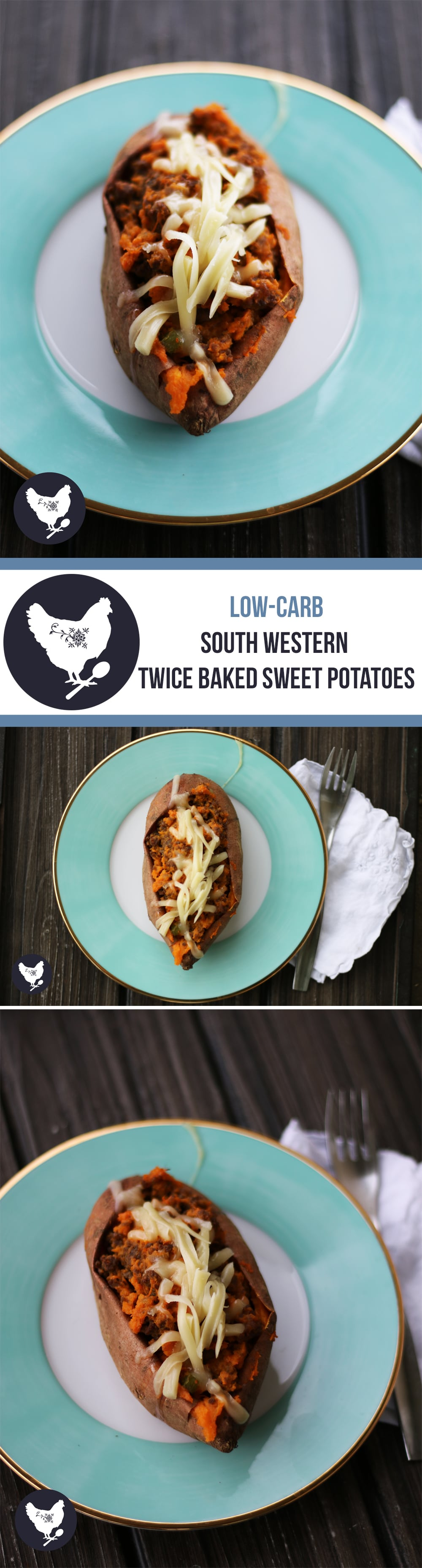 South Western Twice-Baked Sweet Potatoes | Get this scrumptious low-carb recipe from Cosmopolitan Cornbread