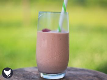 "PB & J Smoothie - A fun and delicious smoothie with the nostalgic flavor of a classic ""PB & J"" sandwich."