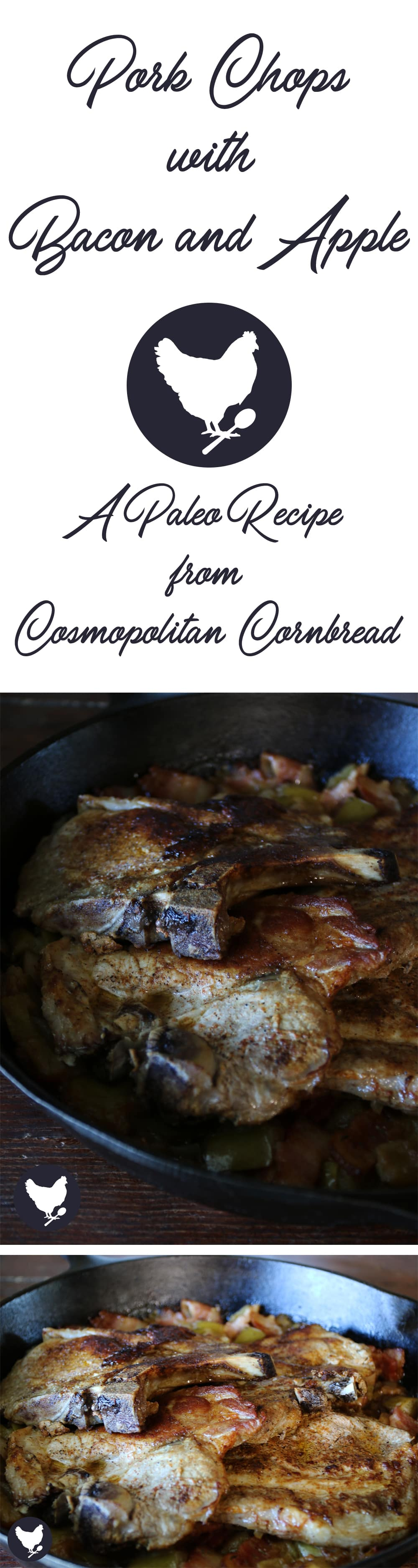 Paleo-friendly Pork Chops with Bacon and Apple make for a very flavorful and scrumptious one-pan supper.