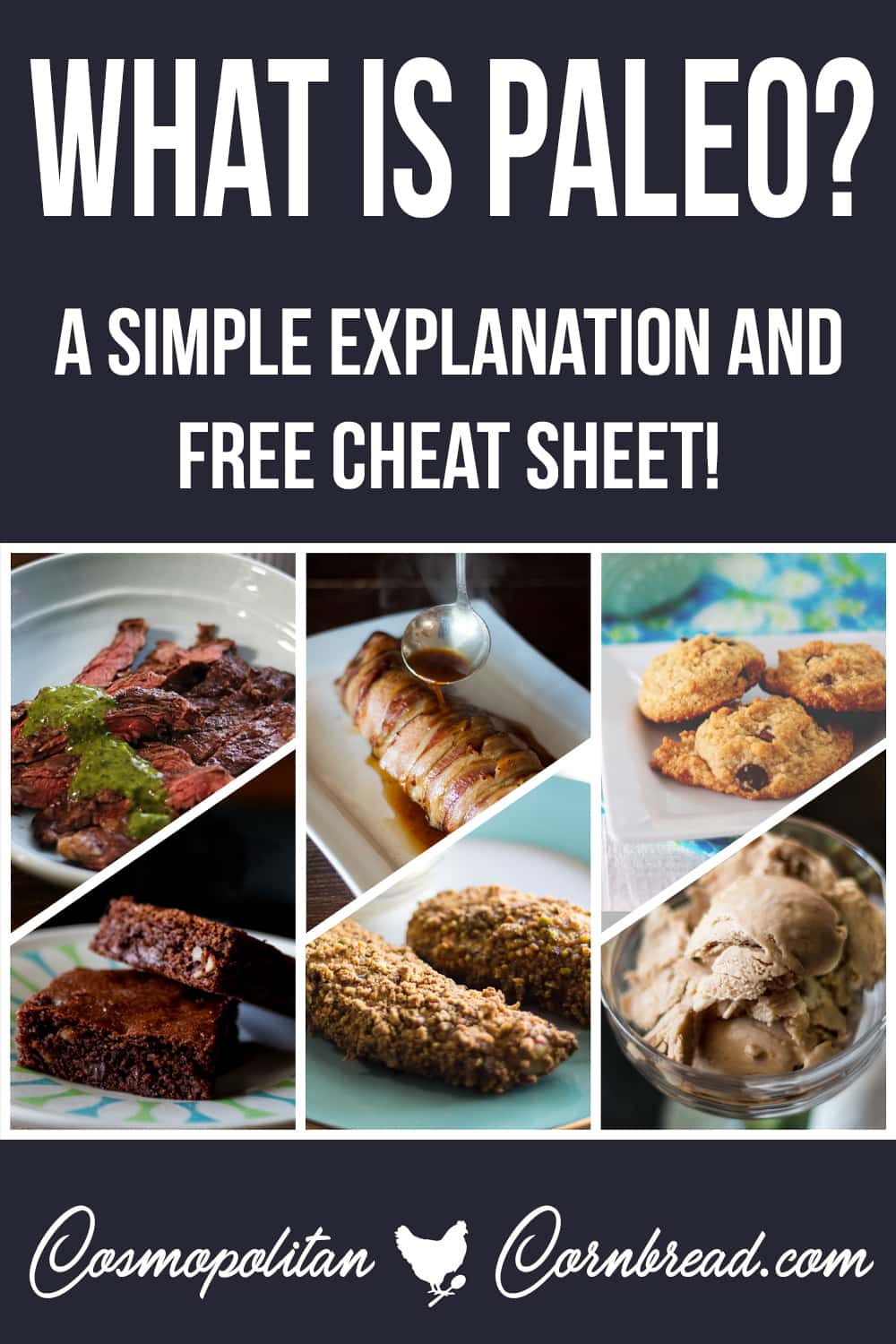 """What is the Paleo Diet? Get a simple explanation as well as a free printable cheat sheet of """"What is Paleo?"""" from Cosmopolitan Cornbread. #paleo #lowcarb #glutenfree"""