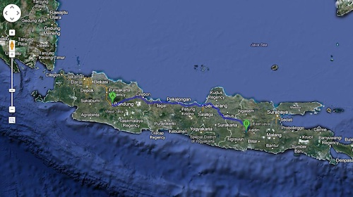 My trip started from Bandung (A), West Java to Ngliman (B) in East Java. Credit: Google map