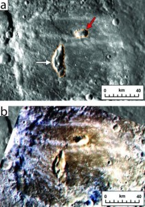 Two pyroclastic vents on the floor of Mercury's Kipling crater, top, would likely not have survived the impact; they are more recent. The false color image of the same spot, bottom, marks pyroclastic material as brownish red.