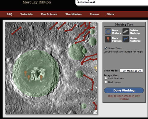 Mercury Mappers showing several potential secondary crater chains