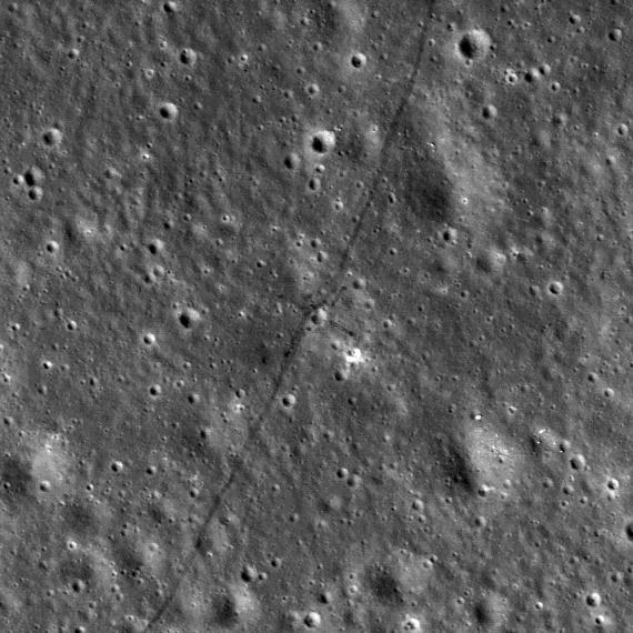 Tracks made by Lunokhod 2. Credit: NASA/ GSFC/ Arizona State University]