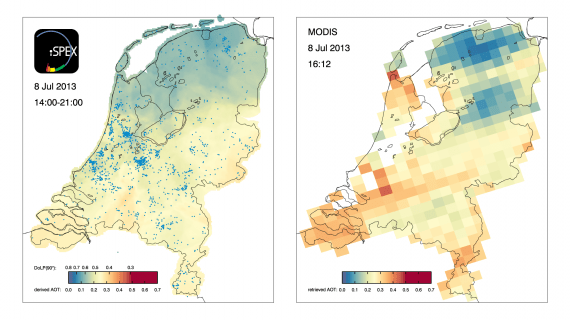 iSPEX map compiled from all iSPEX measurements performed in the Netherlands on July 8, 2013, between 14:00 and 21:00 (left), compared to the AOT data from the MODIS Aqua satellite, which flew over the Netherlands at 16:12 local time (right).