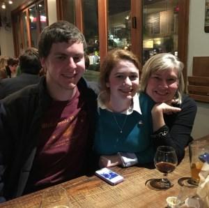 Cory Lehan, Maya Bakerman and Whitney Cobb at the AGU CosmoQuest Meetup.  Credit: James Iwayemi